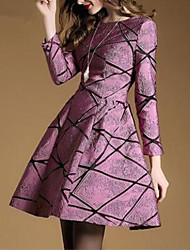 Women's Going out Street chic A Line Dress,Print Pleated Round Neck Above Knee Long Sleeve Polyester Purple Spring Fall Mid Rise