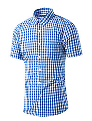 Men's Casual/Daily Simple Summer Shirt,Check Shirt Collar Short Sleeve Blue Red Cotton Medium