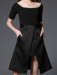 Gaine Noir Robe Femme Sortie Décontracté / Quotidien Travail Mignon Chic de Rue Sophistiqué,Couleur Pleine Bateau Mi-long Asymétrique