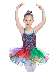 Performance Tutus & Skirts Women's Children's Performance Nylon Organza Sequined Tulle Lycra Criss-Cross Ruffles Splicing Color Block1