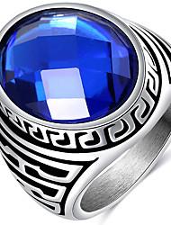 Anéis Casamento Festa Diário Casual Jóias Acrílico Aço Titânio Masculino Anel 1peça,7 8 9 10 Azul Cameo Prateado