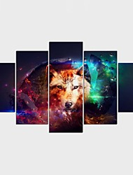 Stretched Canvas Print Animal Fantasy Style Modern,Five Panels Canvas Any Shape Print Wall Decor For Home Decoration