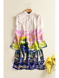 Women's Going out Party/Cocktail Simple Boho A Line Swing Dress,Print Beaded Ruffle Stand Above Knee Long Sleeve Rayon White SpringMid