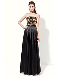 Formal Evening Dress A-line Strapless Floor-length Chiffon with Sequins
