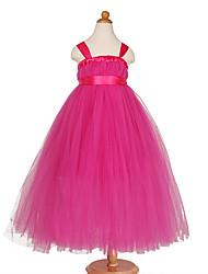 Princesse thé longueur robe fille fleur - tulles en polyester tulles sans manches avec arc (s)