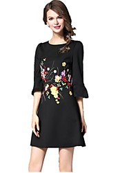 Women's Going out Casual/Daily Holiday Simple Cute Street chic A Line Dress,Embroidered Round Neck Mini Above Knee ¾ Sleeve Others Black