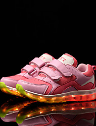 Girl's Athletic Shoes Spring Summer Fall Winter Comfort Leather Tulle Outdoor Casual Athletic Low Heel Buckle LED Pink Red White Other