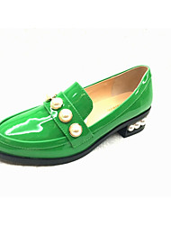 Women's Oxfords Spring Summer Fall Other Patent Leather Casual Chunky Heel Jewelry Heel Imitation Pearl Black Green Burgundy