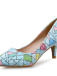 Women's Heels Comfort Leather Wedding Party & Evening Dress Low Heel Blue Pink White