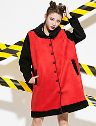 Women's Going out Street chic Sophisticated Coat,Color Block Hooded Long Sleeve Fall Winter Wash inside out Dry flat Polyester Others