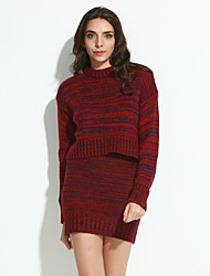 Women's Casual/Daily Street chic Two Piece Sweater Dress,Solid Round Neck Mini Long Sleeves Acrylic Fall Winter Mid Rise Micro-elastic