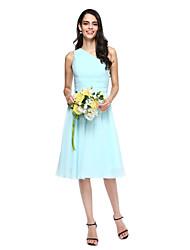 Lanting Bride® Mi-long Mousseline de soie Robe de Demoiselle d'Honneur - Trapèze Une Epaule avec Pan drapé