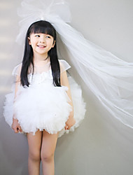 Ball Gown Short / Mini Flower Girl Dress - Chiffon Organza Sleeveless Jewel with Cascading Ruffles