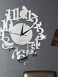Creative Black Cat Wall Clocks Mirror Surface Acrylic Wall Clock 3D Decor Living Room Wall Stickers Clock