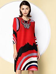 Damen Tunika Kleid-Ausgehen Anspruchsvoll Druck Rundhalsausschnitt Übers Knie ¾-Arm Blau Rot Lila Polyester Frühling HerbstMittlere