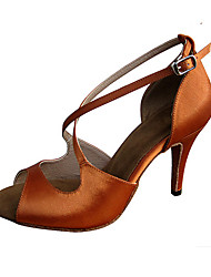 Для женщин-Атлас-Персонализируемая(Темно-коричневый) -Латина Джаз Сальса Обувь для свинга