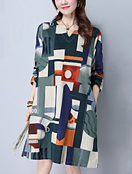 Women's Casual/Daily Street chic Loose Dress Print Round Neck Knee-length Long Sleeve Cotton /Linen Red /Green Spring /Fall Mid Rise