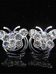 The Bride Go Diamond Hairpins Butterfly Flower Set auger Spiral Screw Clip Clip Children  6pcs