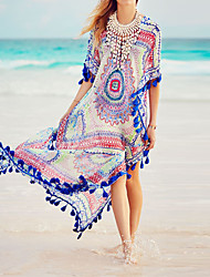 Women's Vintage Split Loose Beach Cover-Up Tassels Floral Chiffon Polyester Multi-color