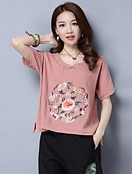 2017 été nouvelles femmes&vent national rétro broderie de coton brodé de style chinois t-shirt loose chemise de # 39;