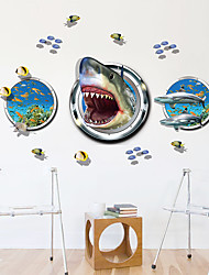 3D Shark Underwater World Wall Stickers Bathroom Plane Wall Stickers 3D Wall Stickers Home Decoration Wall Decal