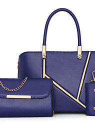Women Bag Sets PU All Seasons Formal Outdoor Office & Career Baguette Rivet Magnetic Black Ruby Blue Champagne