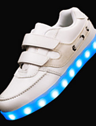 Boy's Sneakers Spring Summer Fall Winter Comfort Novelty PU Outdoor Casual Athletic Flat Heel Magic Tape LED Black White Walking