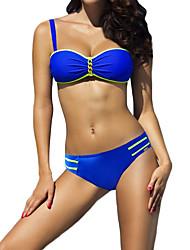 Women's Halter Bikini,Solid Polyester Royal Blue