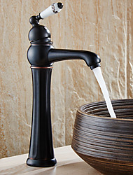 Antique Brass Retro Bathroom Basin Sink Mixer Taps Deck Mounted Single Holder Black Faucet