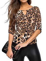 Damen Leopard Einfach Lässig/Alltäglich T-shirt,V-Ausschnitt Alle Saisons Langarm Schwarz Kunstseide Polyester Dünn