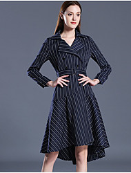 Women's Casual/Daily Work Street chic Sophisticated Swing Dress,Striped Shirt Collar Knee-length Long Sleeve Polyester Blue SummerHigh