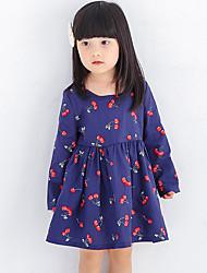 Girl's Print Dress,Polyester All Seasons Long Sleeve