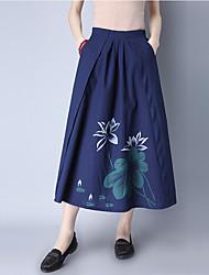 Sign national wind ladies skirt summer skirt Fan art retro A-line skirt bust skirt