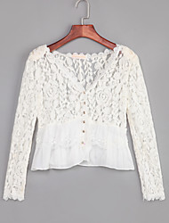 Women's Lace Going out Sexy Spring Summer FallSolid V Neck Long Sleeve White Polyester Thin