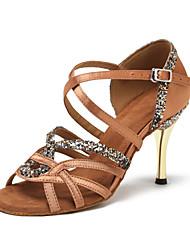 Non Customizable Women's Dance Shoes Suede Paillette Suede Paillette Latin Swing Shoes Dance Boots Sandals Heels Stiletto HeelPractice