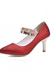 Women's Heels Spring Fall Comfort Leatherette Wedding Party & Evening Dress Stiletto Heel Sequin Buckle Red Silver Gold