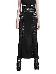Damen Röcke,Stifte einfarbigLässig/Alltäglich Party/Cocktail Sexy Vintage Hohe Hüfthöhe Maxi Reisverschluss Polyester Micro-elastisch