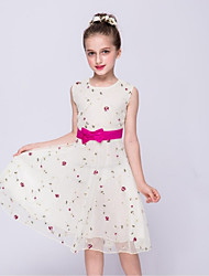 a-line платье для девушки с длинным рукавом - манжета без рукавов с шеей с луком (ов) вышивка ydn