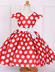 Robe Fille de Points Polka Coton Polyester Eté Printemps Manches Courtes