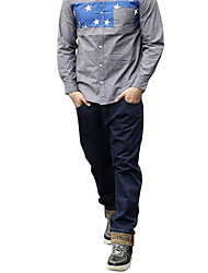 Men's Plus Size Loose / Straight Jeans Pants,Casual/Daily Simple Solid Mid Rise Button Cotton Micro-elastic All Seasons