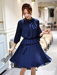 Feminino Bainha Rodado Camisa Vestido, Para Noite Casual Trabalho Vintage Moda de Rua Sofisticado Sólido Colarinho Chinês Acima do Joelho