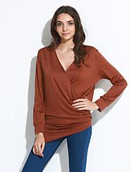 Damen Solide Einfach Lässig/Alltäglich T-shirt,V-Ausschnitt Alle Saisons Langarm Blau / Rot / Braun / Grün Baumwolle Mittel