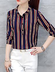 Feminino Camisa Social Formal Trabalho Tamanhos Grandes Simples Moda de Rua Todas as Estações,Listrado Vermelho Outros Colarinho de Camisa