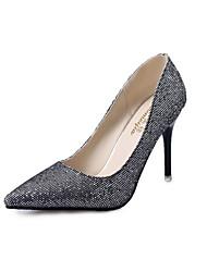 Damen-High Heels-Lässig-Stretch - Satin-Stöckelabsatz-Komfort-Schwarz Silber