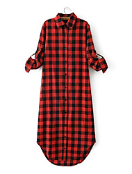Women's Going out Casual/Daily Simple Boho Sophisticated A Line Shirt Dress,Striped Patchwork Ruffle Split Shirt Collar Above KneeLong