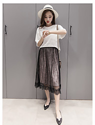 Sign spring models lace gauze gold velvet long section of half-length skirt 2016 autumn and winter new Korean net veil