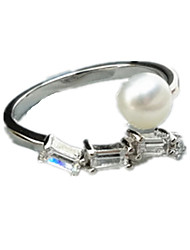 Ring AAA Cubic Zirconia Imitation Pearl Silver Pearl Imitation Pearl Zircon Cubic Zirconia Silver Jewelry Daily Casual 1pc