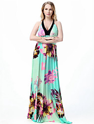 Women's Beach Boho Swing Dress,Floral Backless Halter Maxi Sleeveless Polyester Green Spring Summer High Rise Micro-elastic