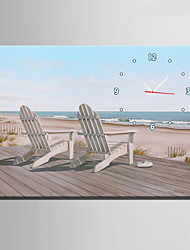E-HOME® Two Chairs on The Beach Clock in Canvas 1pcs