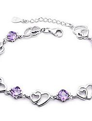 Femme Chaînes & Bracelets Cristal Basique Amour Mode bijoux de fantaisie Argent sterling Cristal Bijoux Bijoux Pour Mariage Soirée